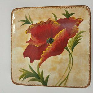 """Pier 1 POPPIES Square 8.5"""" Salad Plates set/3 red"""